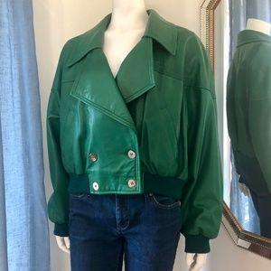 80s Leather Bomber Jacket